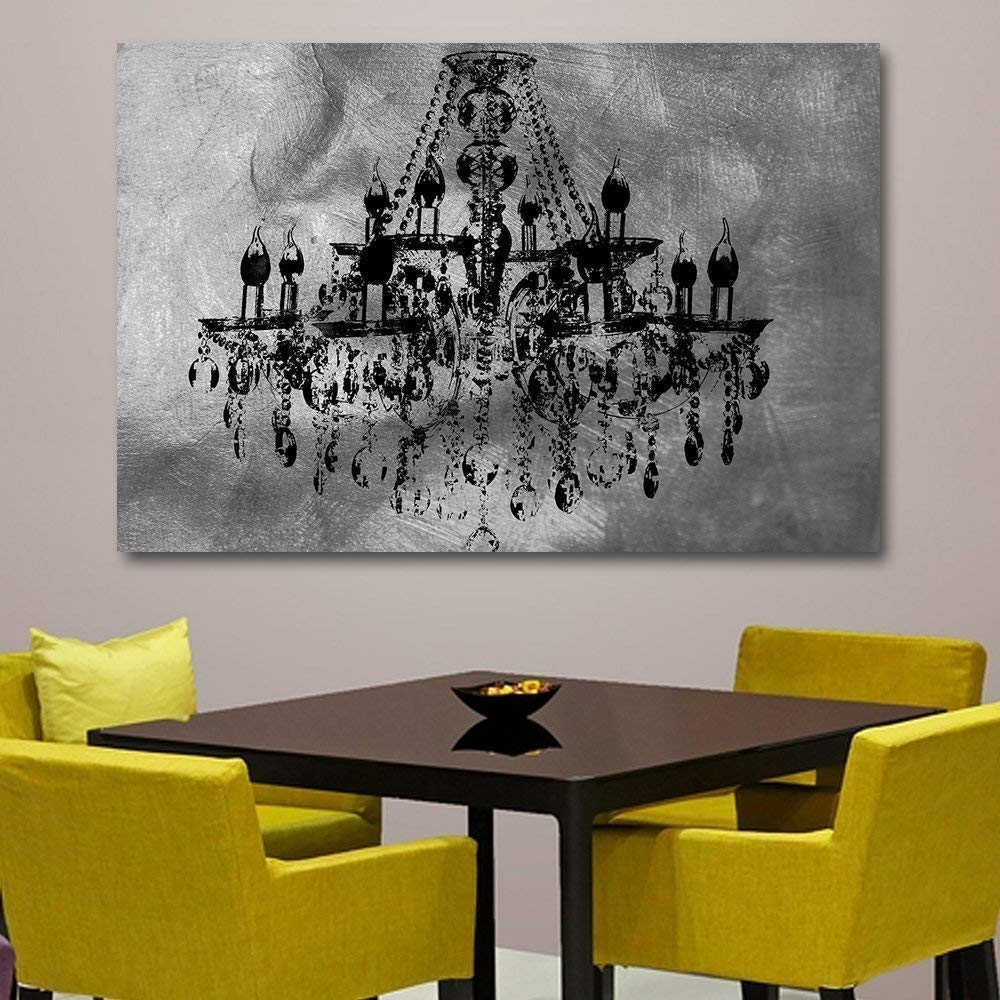 Well Known Chandelier Wall Art Throughout Amazon: Silver Chic Chandelier Wall Decoration Art Decorpiece On (View 19 of 20)