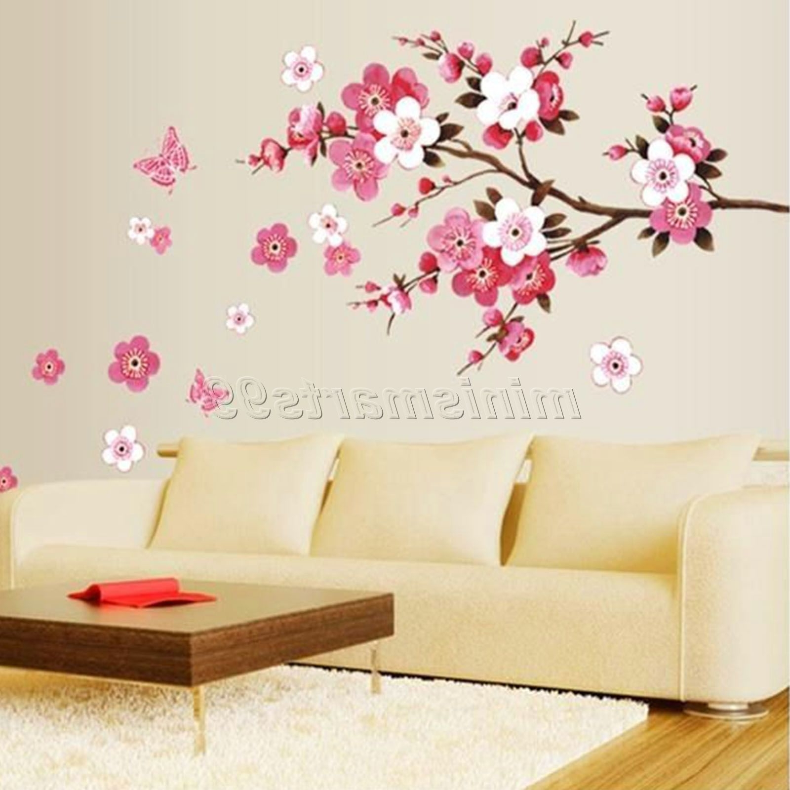 Well Known Cherry Blossom Wall Art Regarding Sakura Flower Butterfly Cherry Blossom Wall Decal Nursery Tree (View 20 of 20)