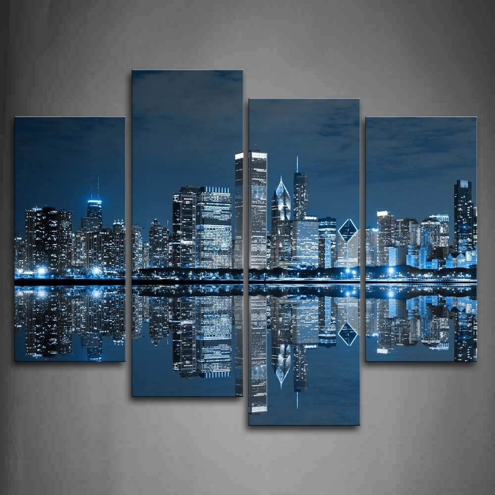 Well Known Chicago Wall Art Within Amazon: First Wall Art – Blue Cool Buildings In Dark Color In (Gallery 2 of 15)