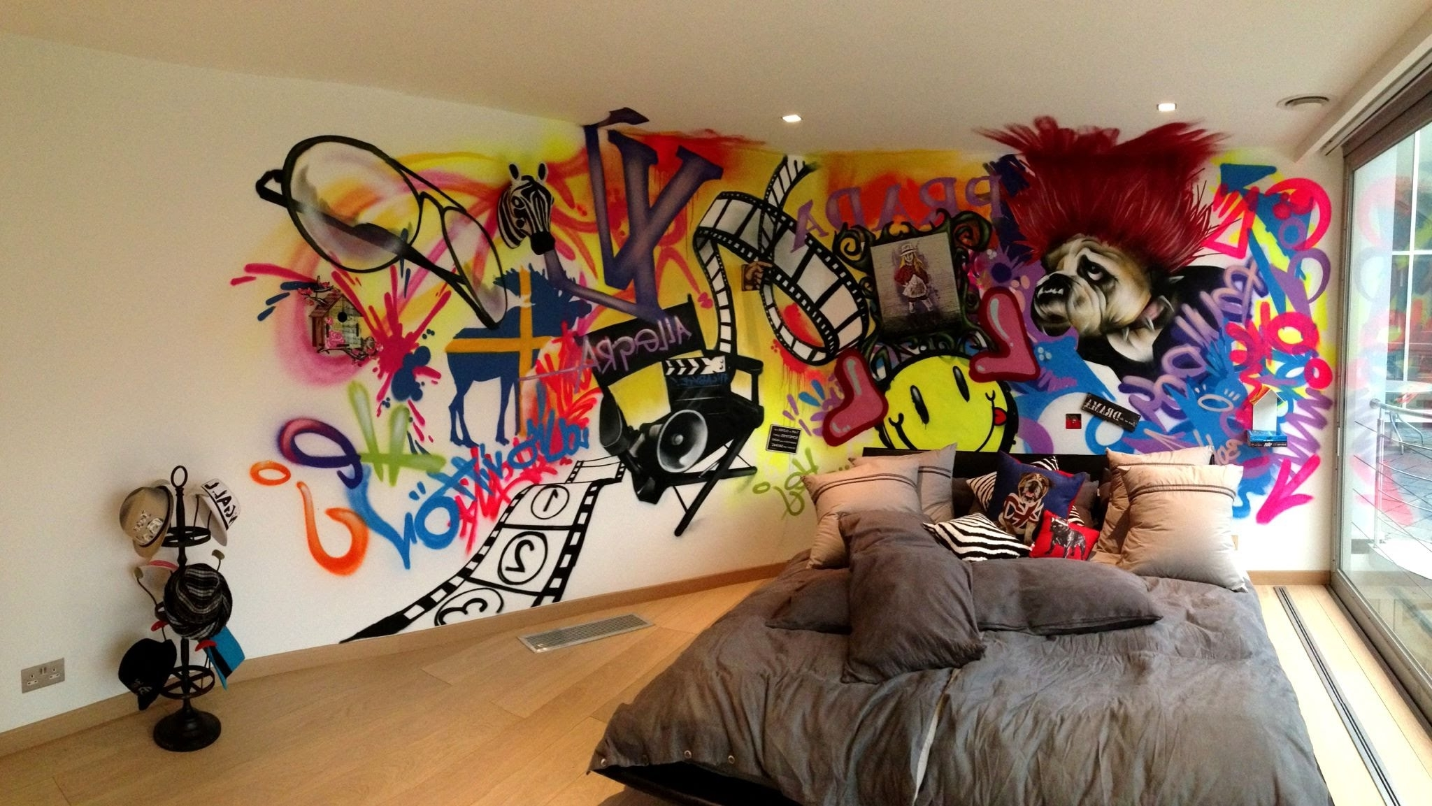 Well Known Cool Wall Art For Wall Art Graffiti For Young Bedroom With Recessed Lights And Wood (View 15 of 15)