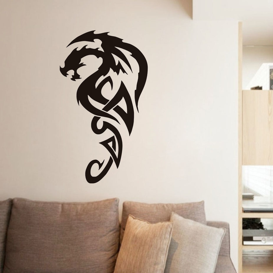 Well Known Dragon Wall Art Inside Tribal Royal Dragon Wall Stickers For Living Room Decor Vinyl (Gallery 18 of 20)