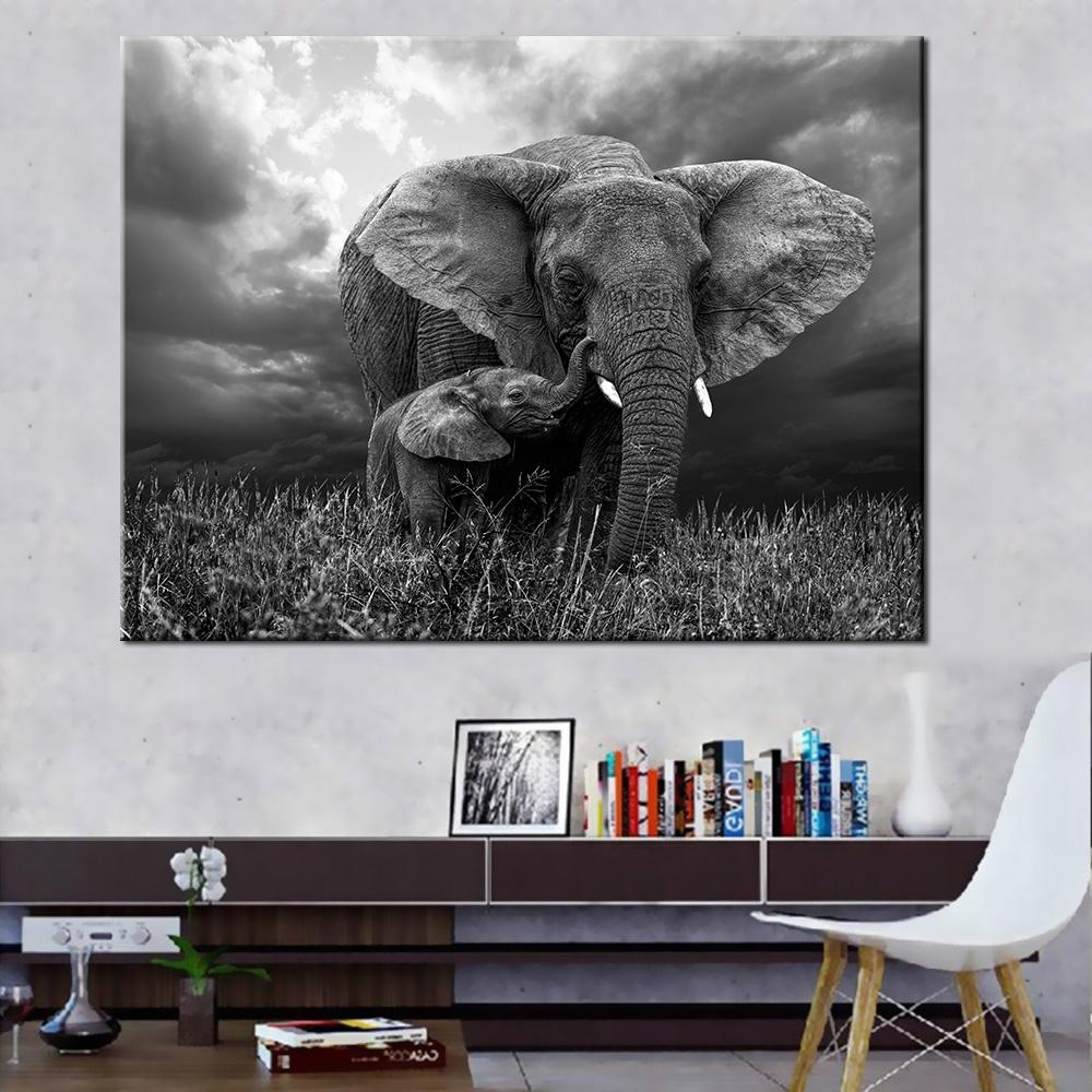 Well Known Elephant Canvas Wall Art With Regard To 2018 Oil Painting Prints Wall Pictures For Living Room Home Decor (Gallery 6 of 20)