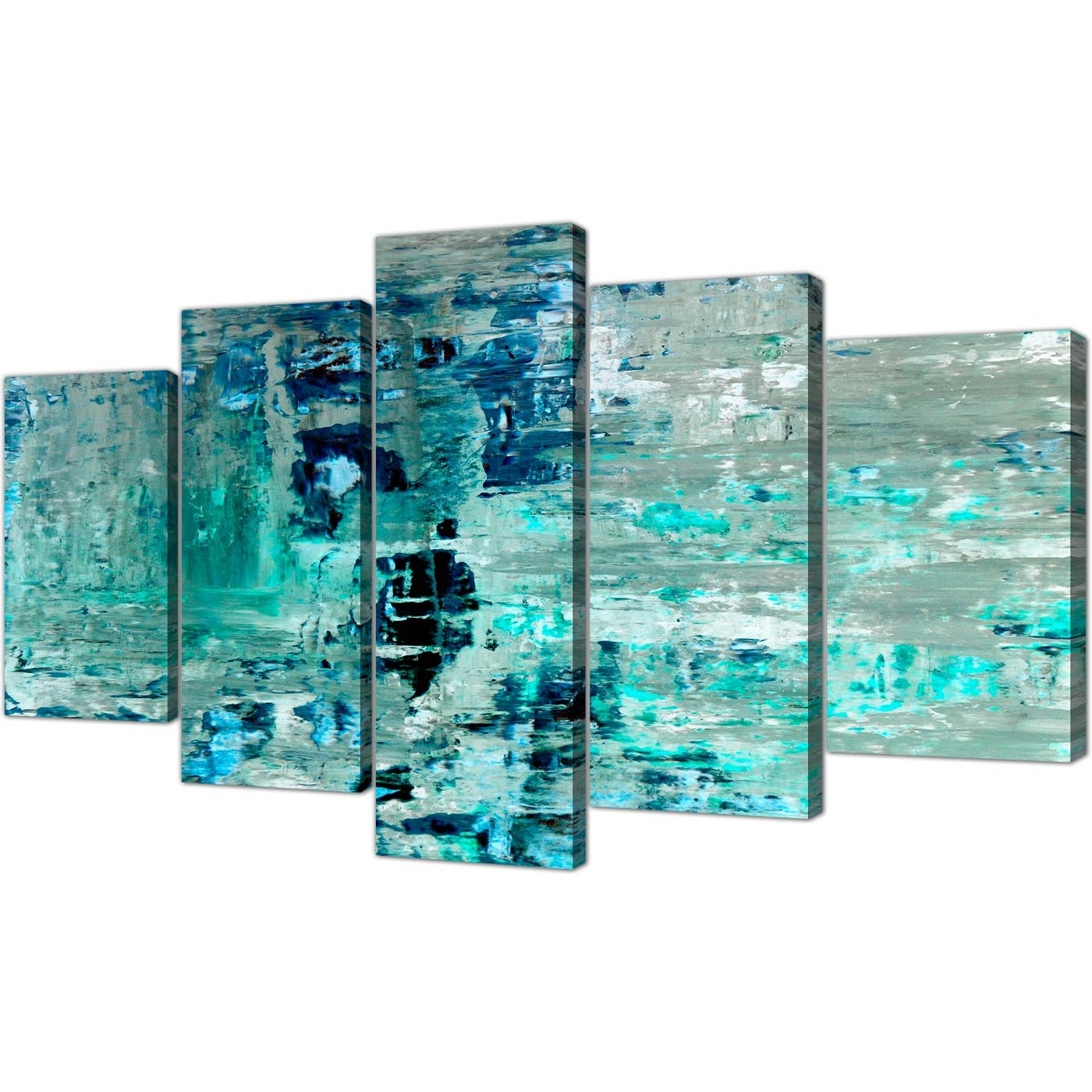 Well Known Extra Large Turquoise Teal Abstract Painting Wall Art Print Canvas Within Large Canvas Painting Wall Art (Gallery 19 of 20)