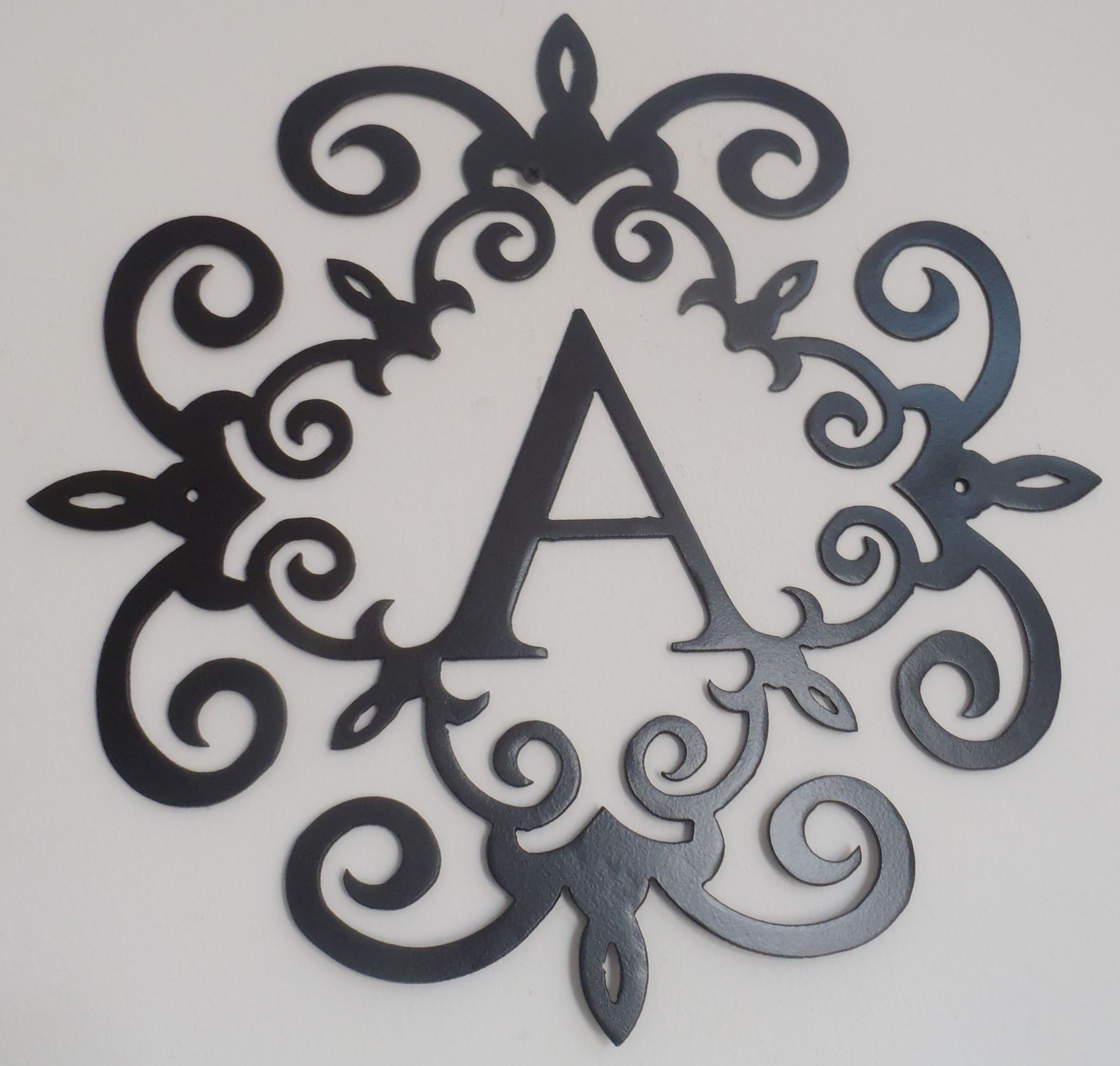 Well Known Family Initial, Monogram Inside A Metal Scroll With A Letter, Wall Inside Metal Scroll Wall Art (View 17 of 20)