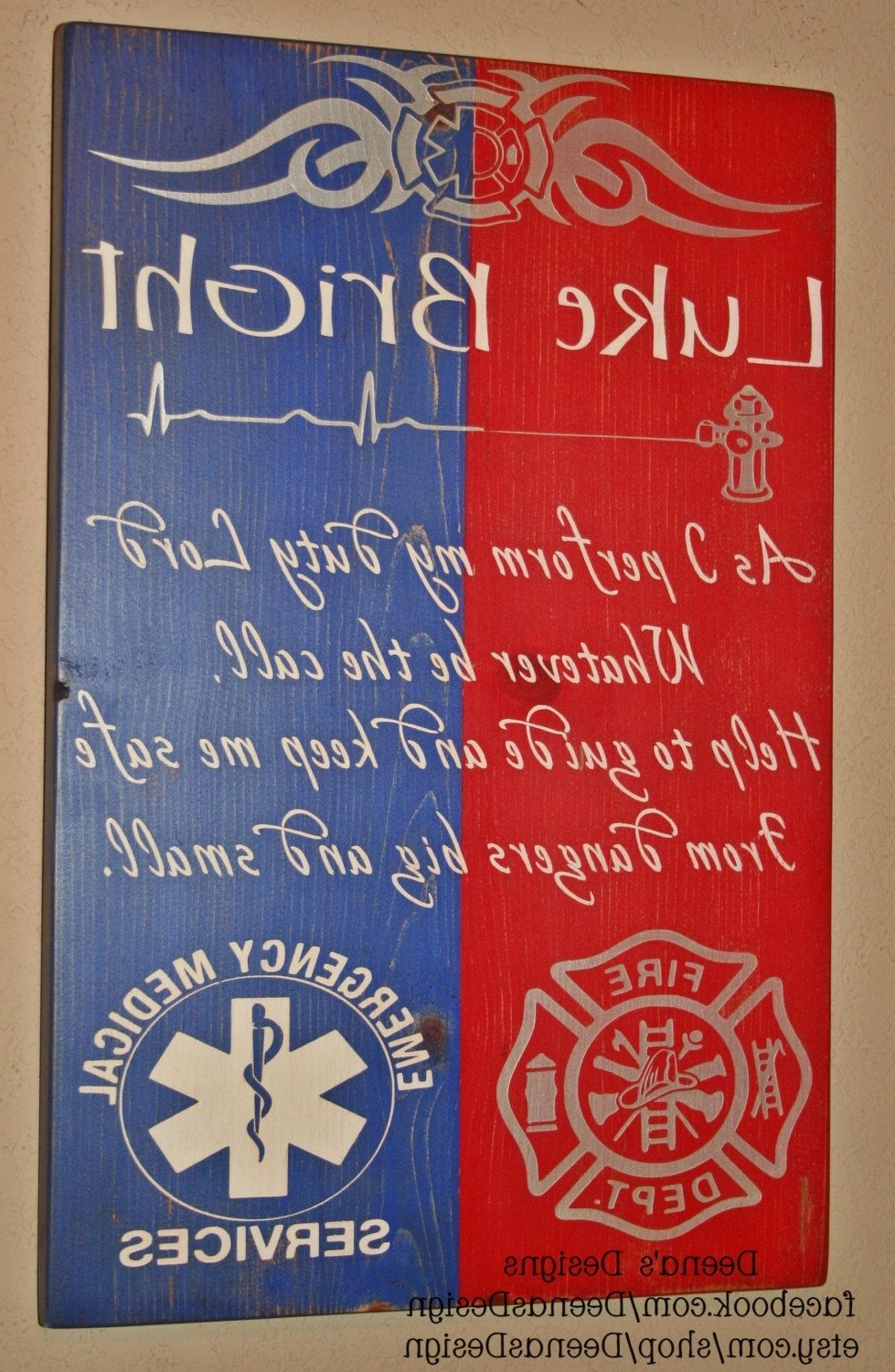 Well Known Firefighter/ems Hybrid Wall Art, Firefighter/ems Decor, Distressed With Regard To Firefighter Wall Art (View 19 of 20)