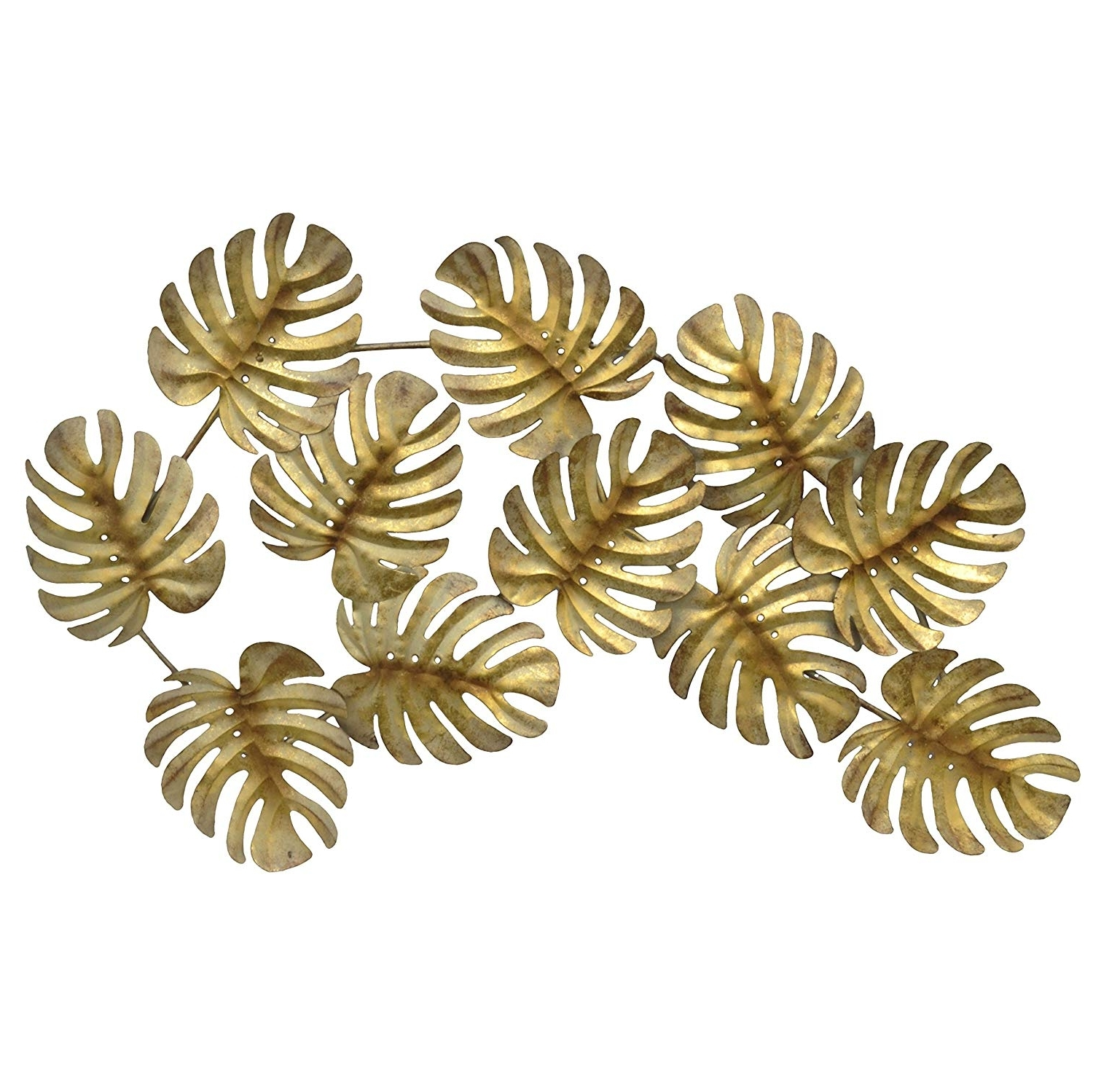 Well Known Gold Metal Wall Art Inside Amazon: Three Hands 10116 Gold Metal Tropical Leaves Wall Decor (View 13 of 15)
