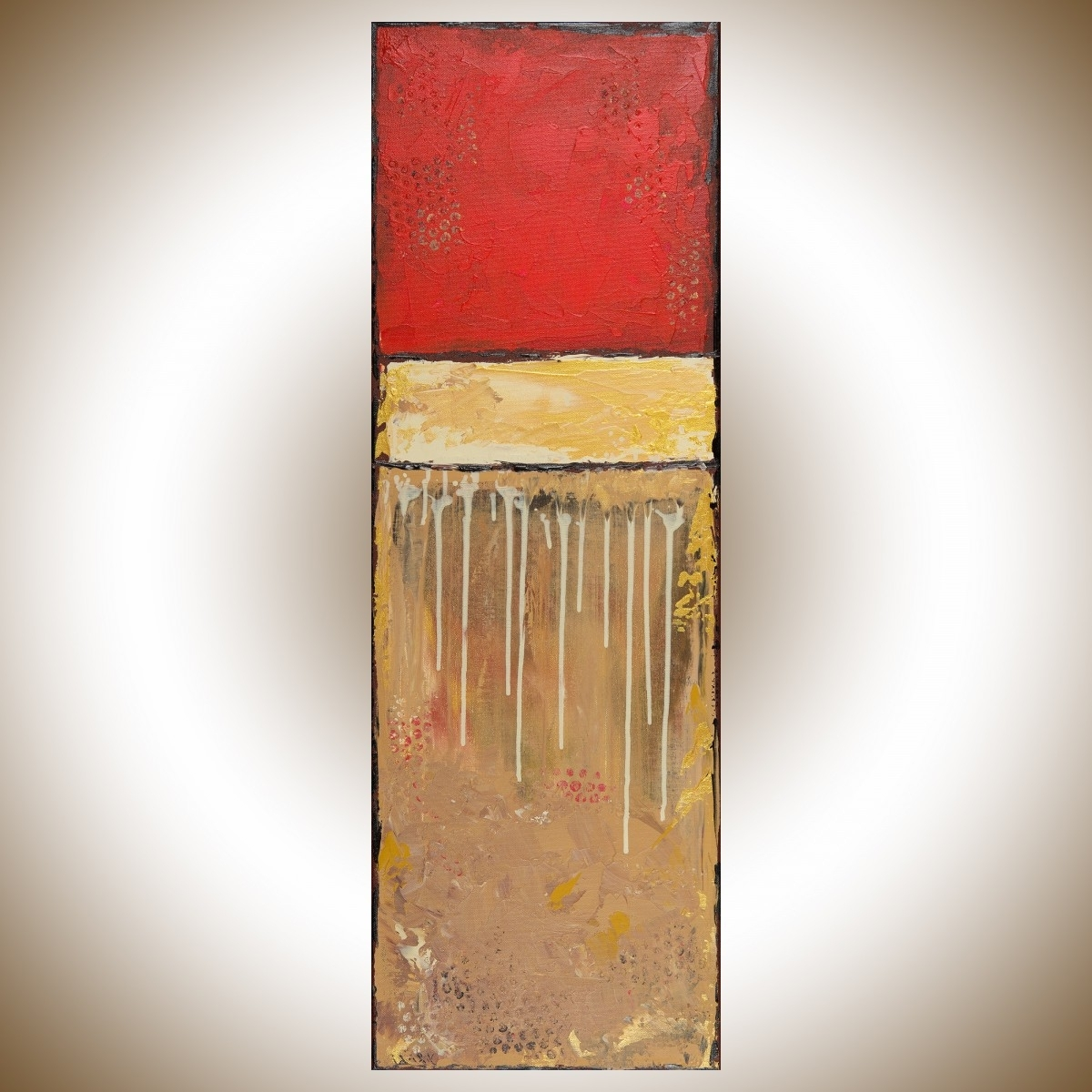 "Well Known Golden Luckqiqigallery 12"" X 36"" Original Modern Abstract Regarding Black And Gold Wall Art (View 20 of 20)"