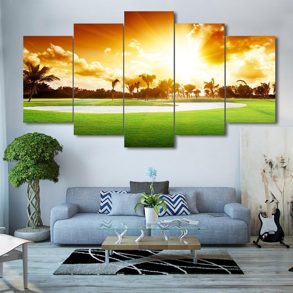 Well Known Golf Canvas Wall Art Intended For Framed 5 Piece Golf Course Sunset Print Canvas Wall Art Paintings (View 12 of 20)