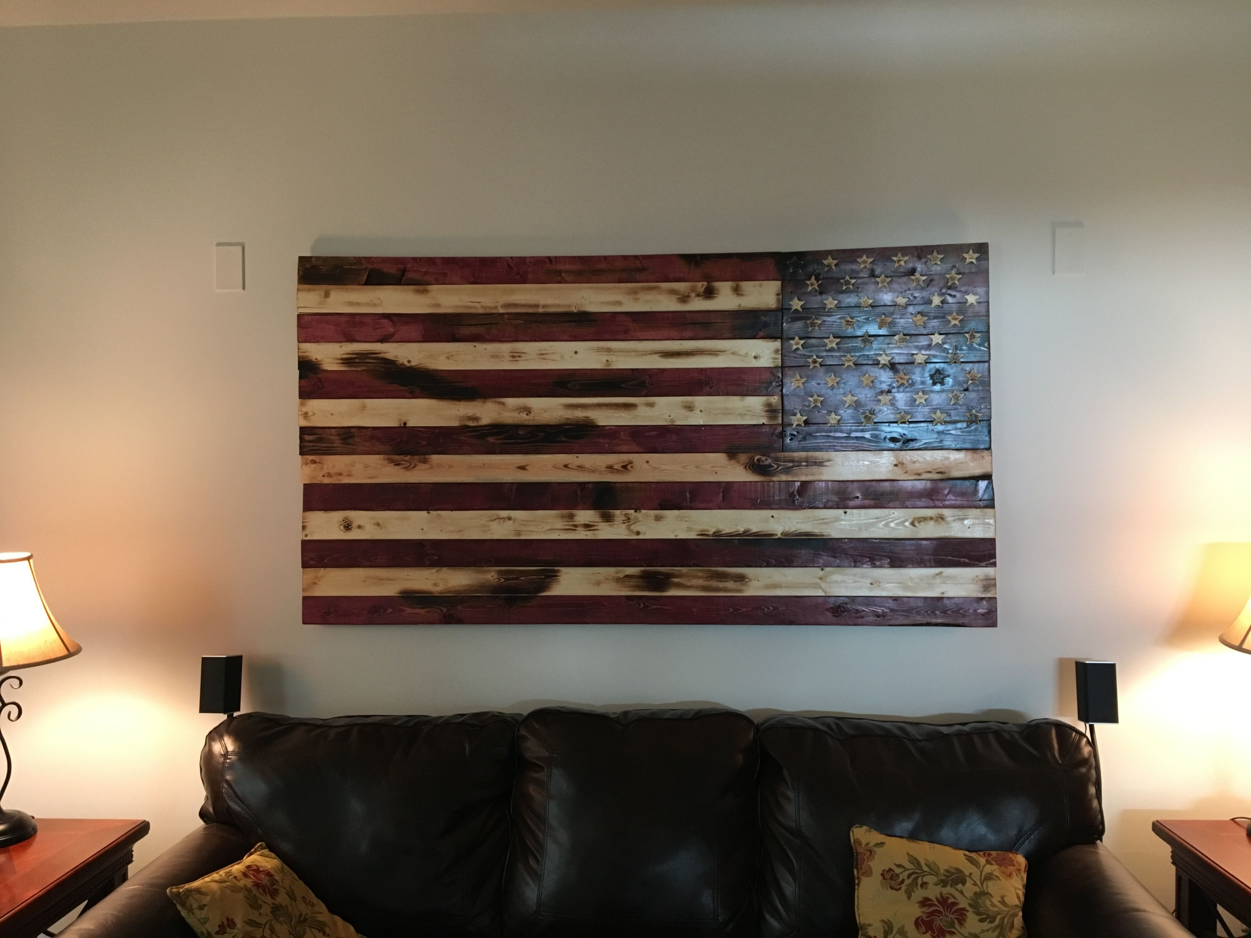 Well Known Hand Crafted Rustic American Flag Wall Arto&e Woodworks Throughout Wooden American Flag Wall Art (View 18 of 20)