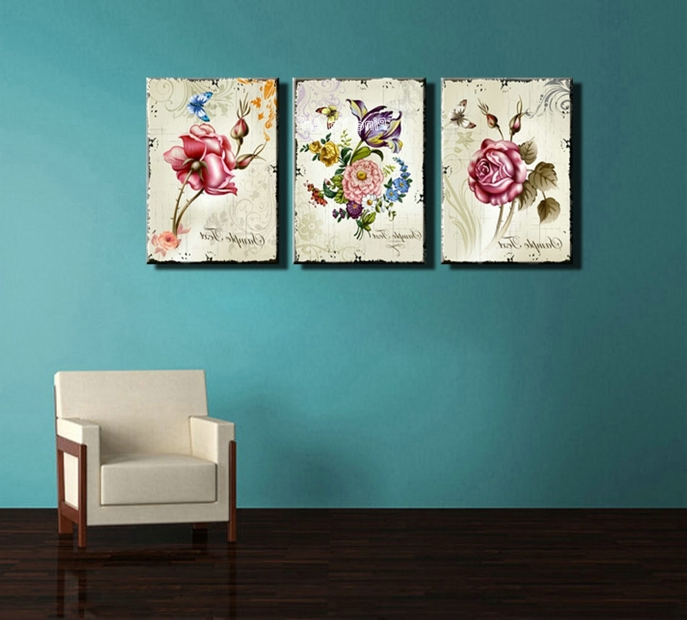 Well Known Inexpensive Wall Art With Regard To Triptych Cheap Modern Canvas Prints Rose Drawing Picture Wall Art (View 20 of 20)