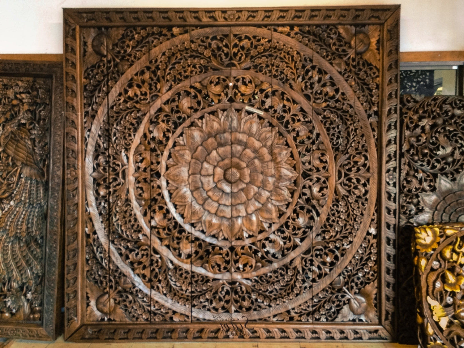 Well Known Large Carved Wood Panel Teak Wall Hanging Siamsawadee – Tierra Este In Wood Carved Wall Art (View 13 of 20)