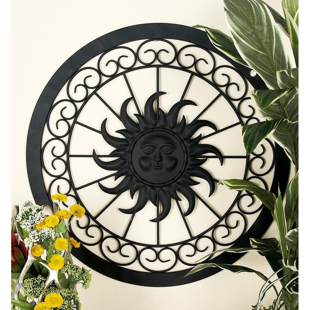 Well Known Lit Lane Iron Black Rustic Sun Round Fra Tal Wall Sculptures Large With Regard To Black Metal Wall Art (Gallery 13 of 20)