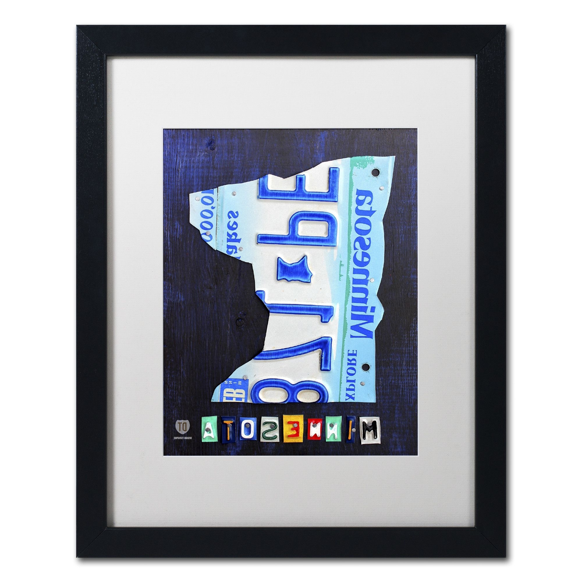 Well Known Minnesota License Plate Mapdesign Turnpike Framed Graphic Art With Regard To License Plate Map Wall Art (View 20 of 20)