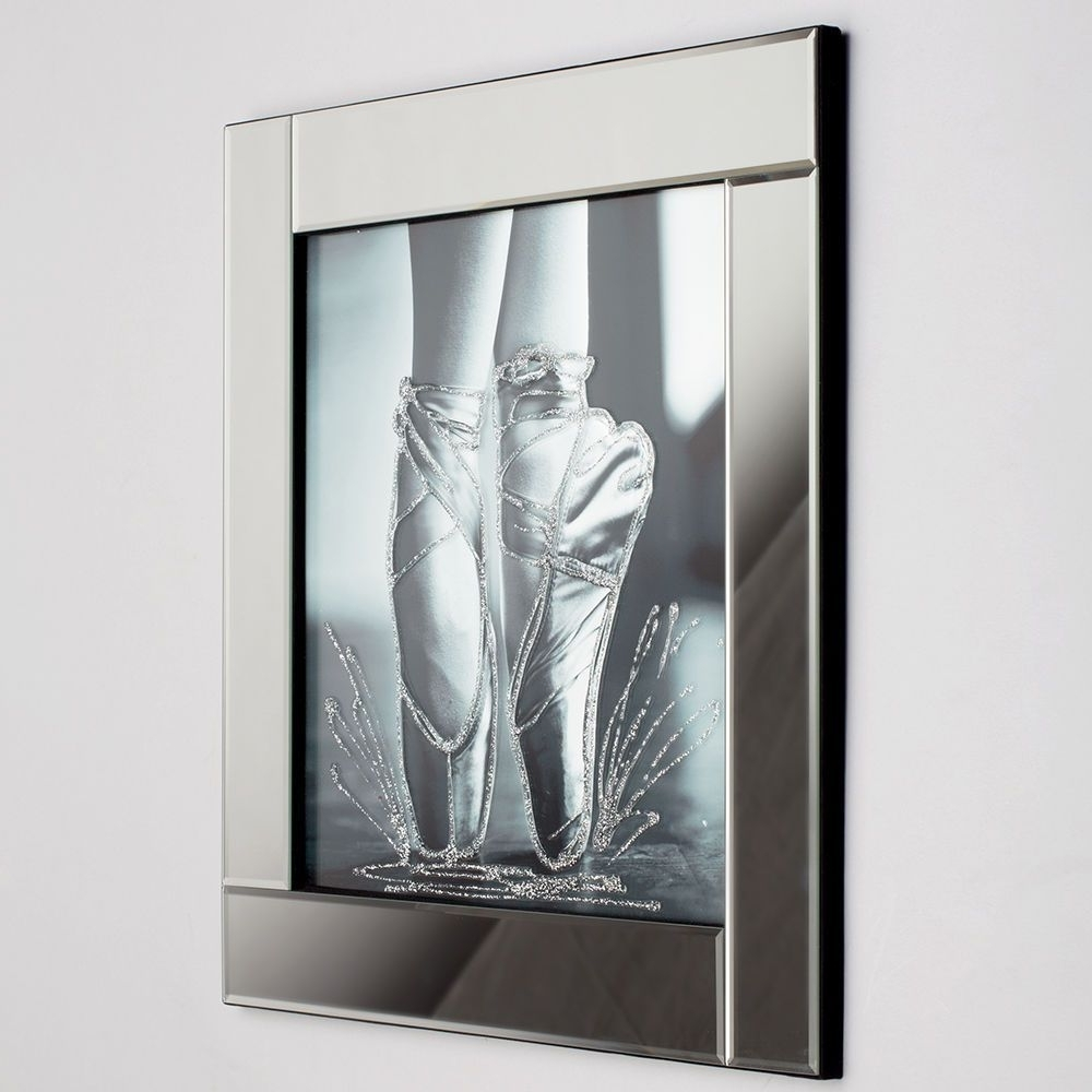Well Known Mirrored Wall Art Throughout Square Mirror Picture Frame With Glittered Ballerina Shoes (View 17 of 20)