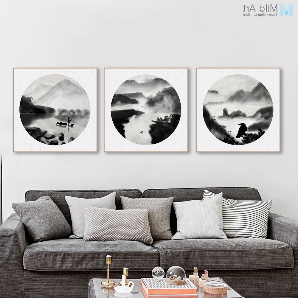 Well Known Modern Abstract Landscape Oriental Chinese Ink Canvas Print Poster In Oriental Wall Art (View 20 of 20)