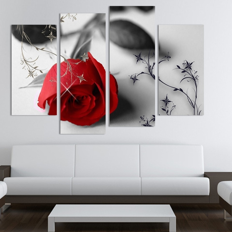 Well Known Modern Wall Art In 4 Piece Beautiful Red Rose Flowers Wall Painting Modern Home Living (View 14 of 15)