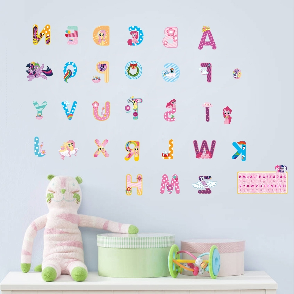 Well Known My Little Horse Alphabet Lovely Letters Wall Stickers For Kids Rooms Pertaining To My Little Pony Wall Art (View 17 of 20)