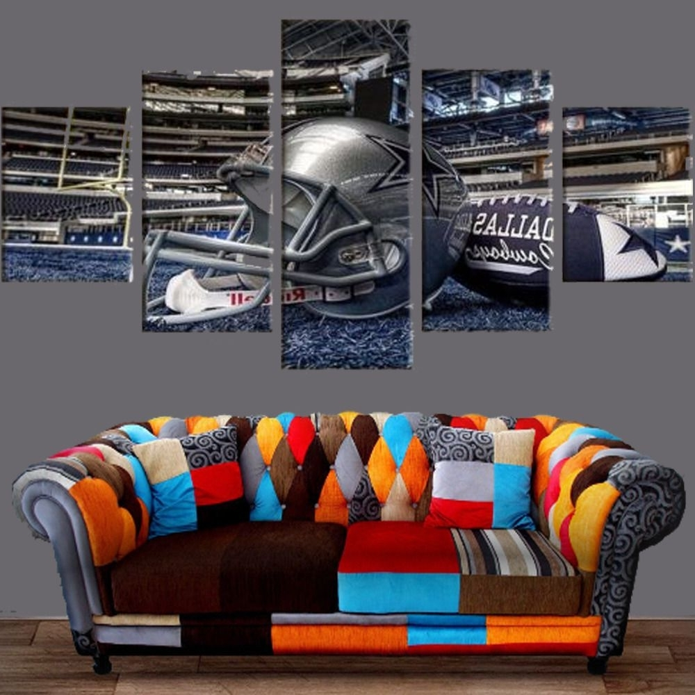 Well Known Nfl Wall Art With Regard To Dallas Cowboys Stadium Canvas Prints 5Pcs Painting Wall Art Sport (Gallery 15 of 20)
