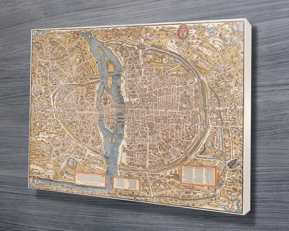 Well Known Paris 1550 Map Canvas Wall Art Print With Regard To Map Wall Art Prints (View 18 of 20)