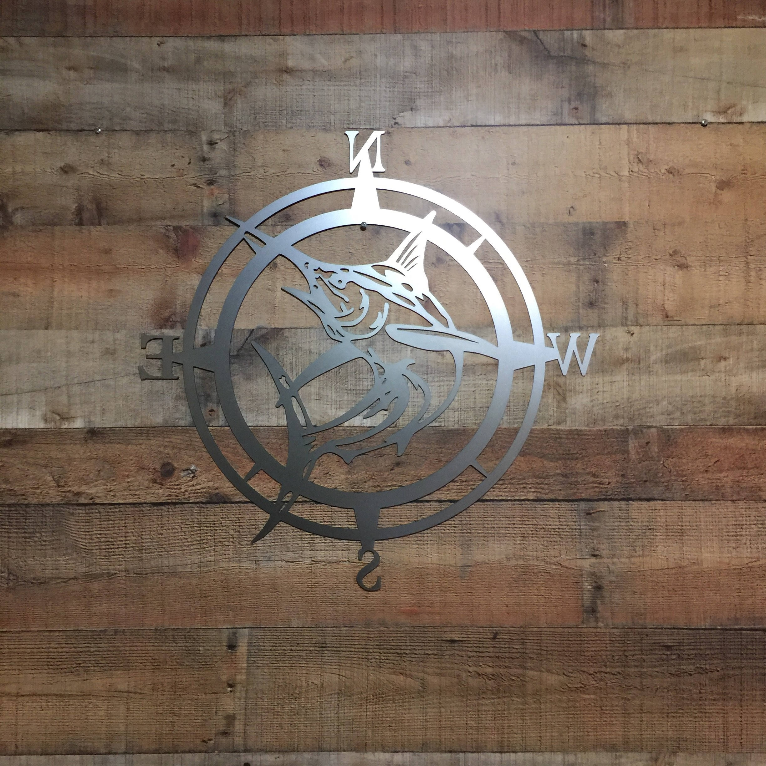 Well Known Personalized Metal Wall Art Regarding Marlin Compass Wall Decor, Marlin Compass,wall Art, Nautical Metal (View 18 of 20)