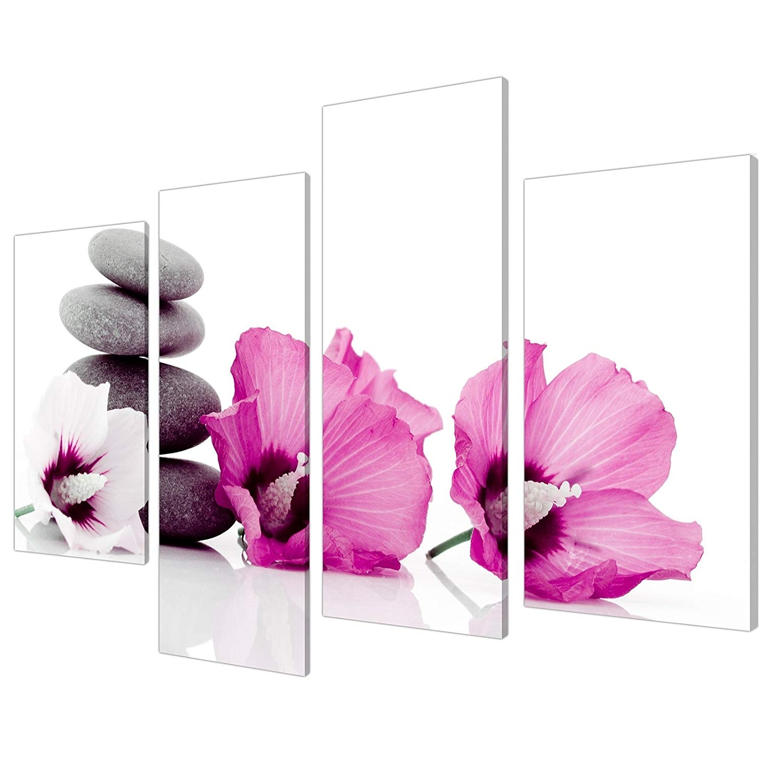 Well Known Pink Wall Art In Large Pink Flower Floral Canvas Wall Art Pictures 130Cm Set Xl 4069 (Gallery 11 of 20)