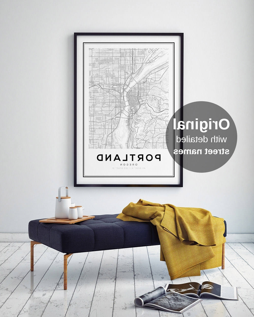 Well Known Portland Map Wall Art With Portland City Map Print, Oregon Map Print, Us Map Print, Map Wall (View 17 of 20)