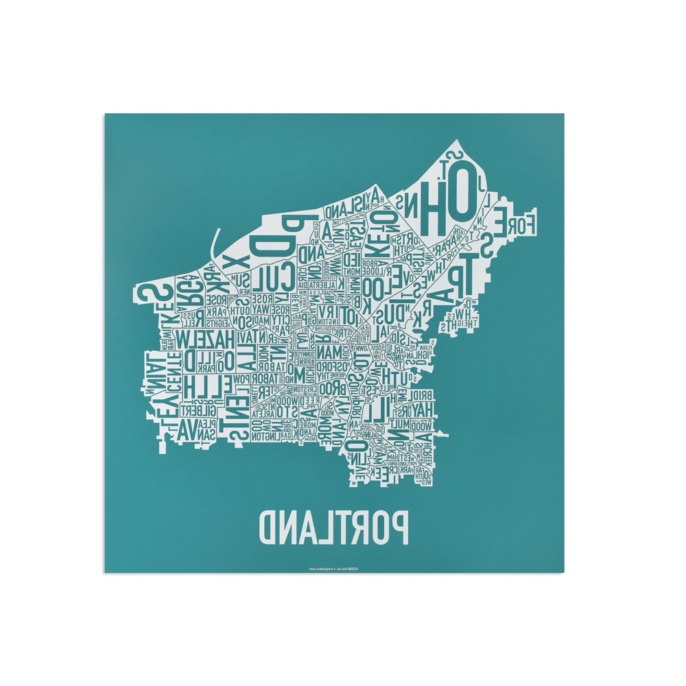 """Well Known Portland Map Wall Art With Regard To Portland Neighborhood Map 12.5"""" X 12.5"""" Teal & White Screenprint (Gallery 8 of 20)"""
