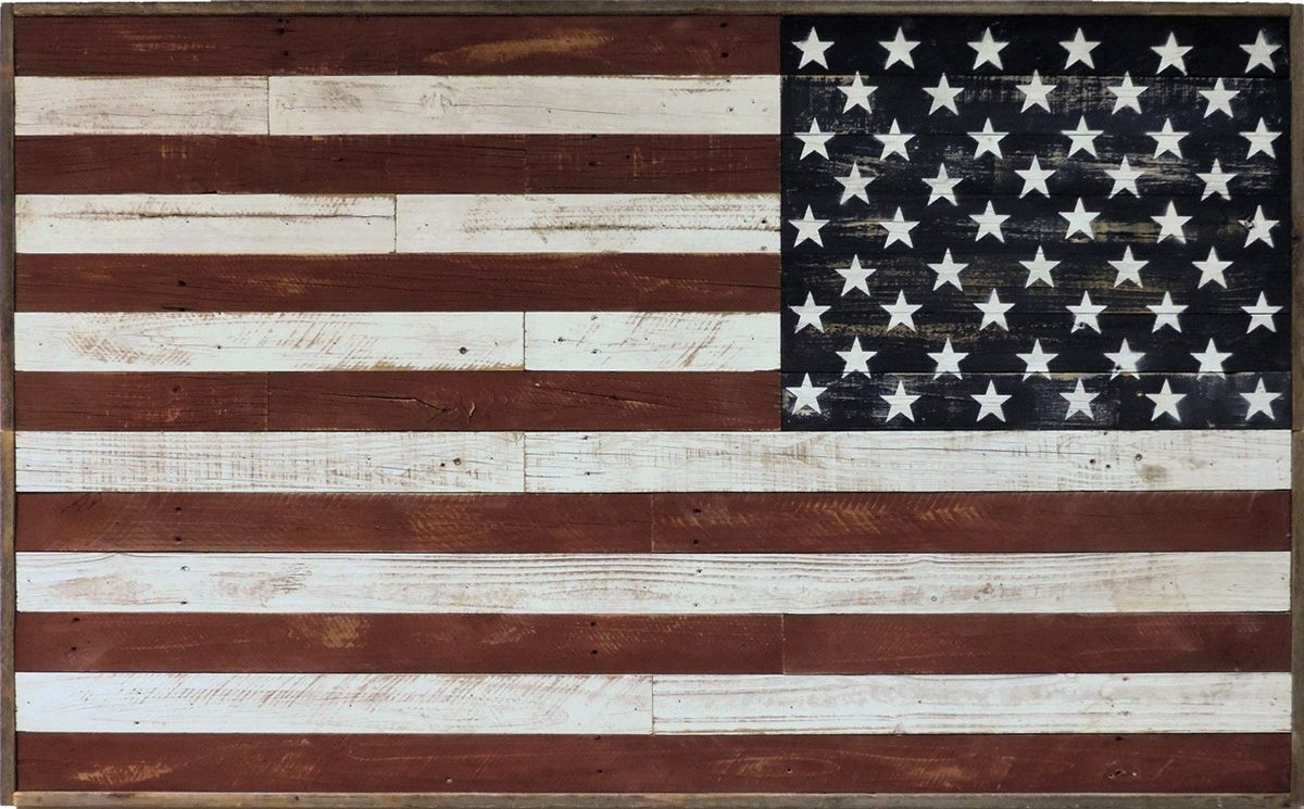 Well Known Rustic American Flag Wall Art With Regard To Rustic Reclaimed Barnwood Large American Flag Wall Art Country Decor (Gallery 13 of 20)