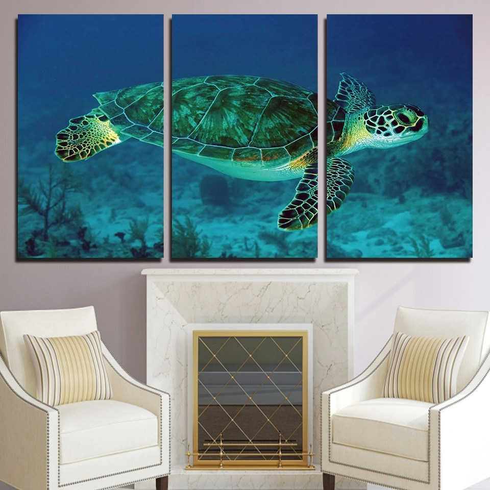 Well Known Sea Turtle Canvas Wall Art For Hd Printed Canvas Painting Wall Art 3 Piece Green Sea Turtle (View 20 of 20)