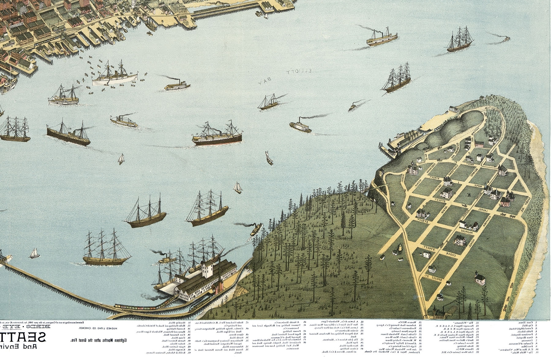 Well Known Seattle, Washington And Environs In 1891 – Bird's Eye View, Map Within Seattle Map Wall Art (View 17 of 20)