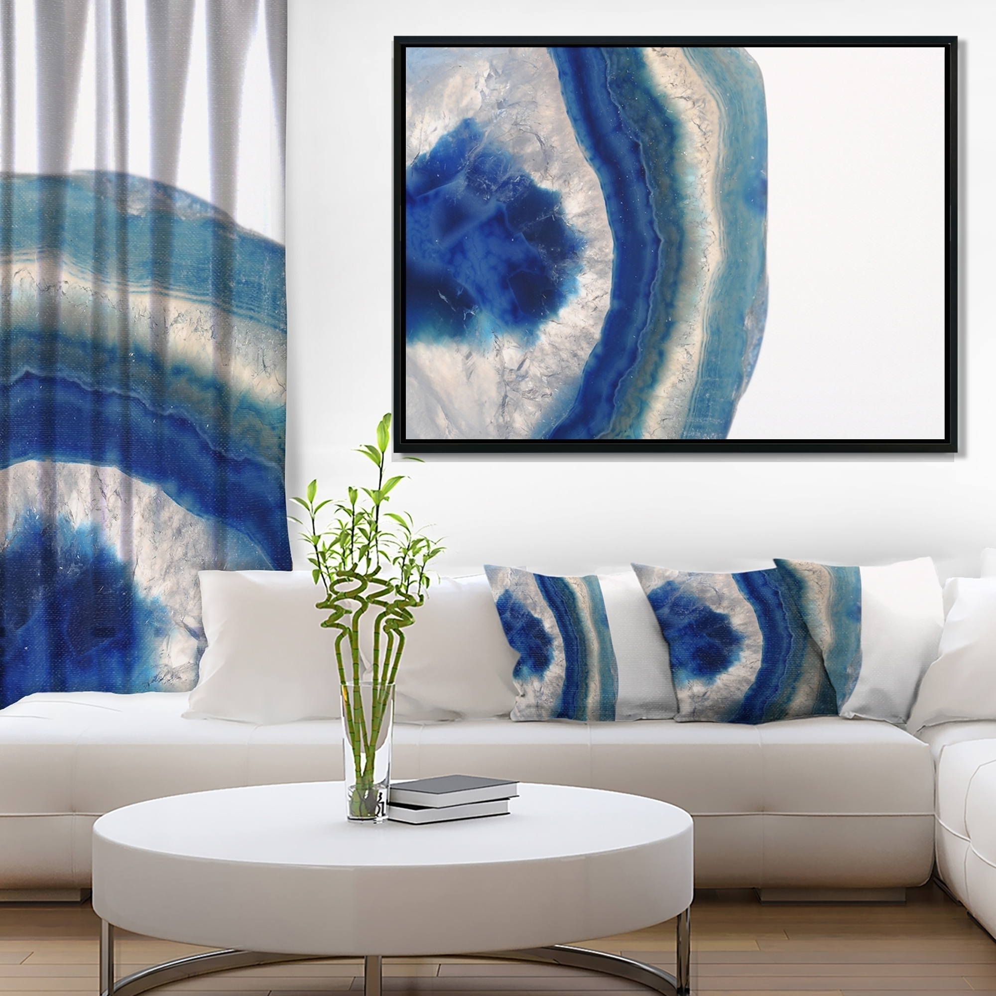 Well Known Shop Designart 'macro Of Blue Agate Stone' Abstract Framed Canvas Intended For Agate Wall Art (View 19 of 20)