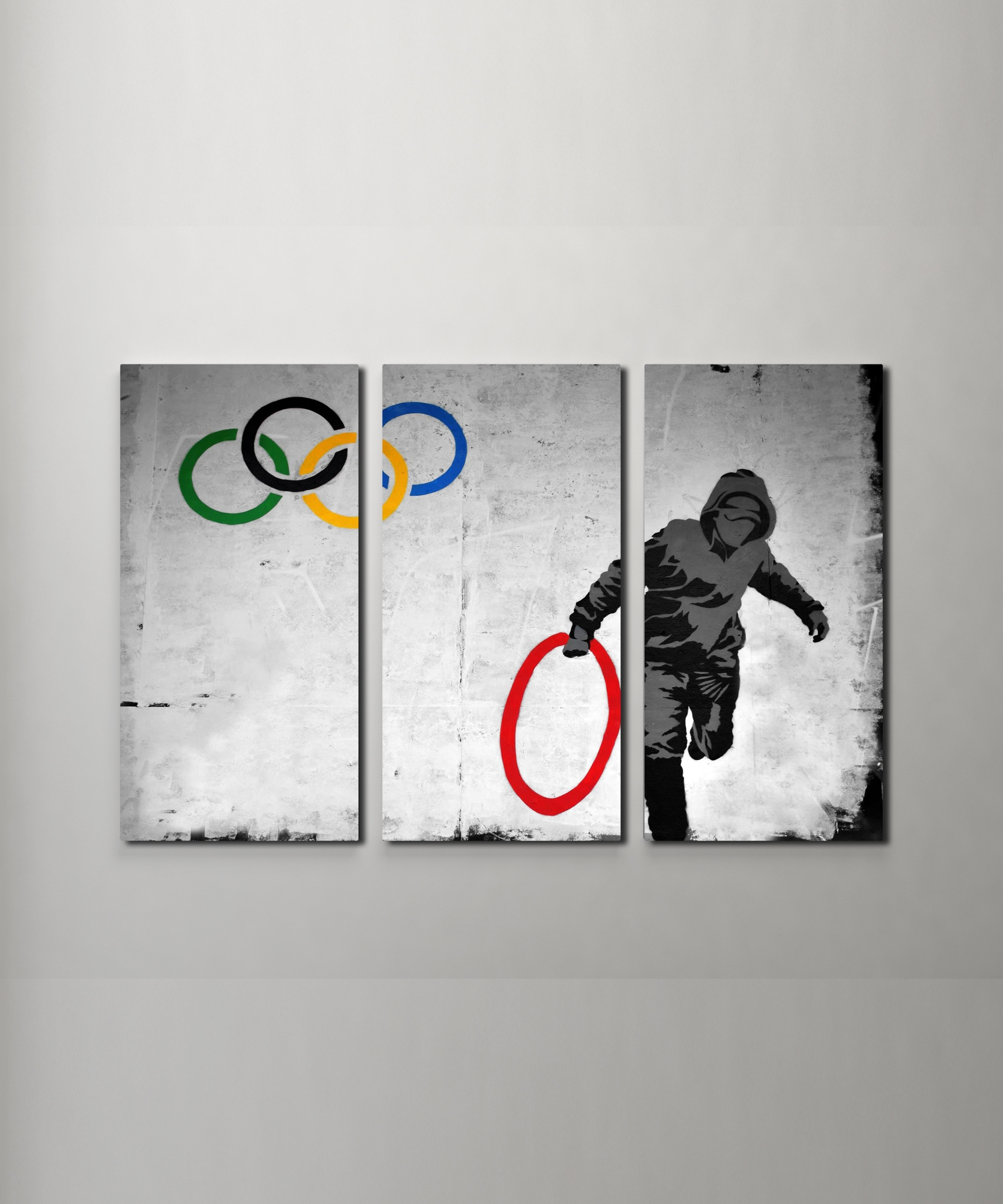 Well Known Triptych Wall Art With Banksy Stolen Olympic Rings Canvas Triptych Wall Art (Gallery 10 of 20)