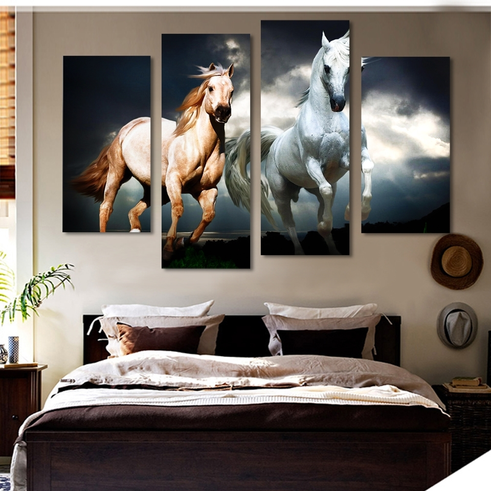 Well Known Unframed 4 Pcs Horse Painting Canvas Wall Art Picture Home With Regard To Horse Wall Art (Gallery 4 of 15)