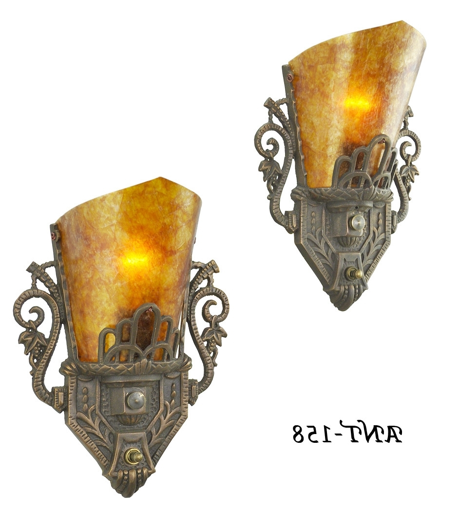 Well Known Vintage Hardware & Lighting – Pair Of Antique Restored Art Deco Wall With Regard To Art Deco Wall Sconces (View 18 of 20)