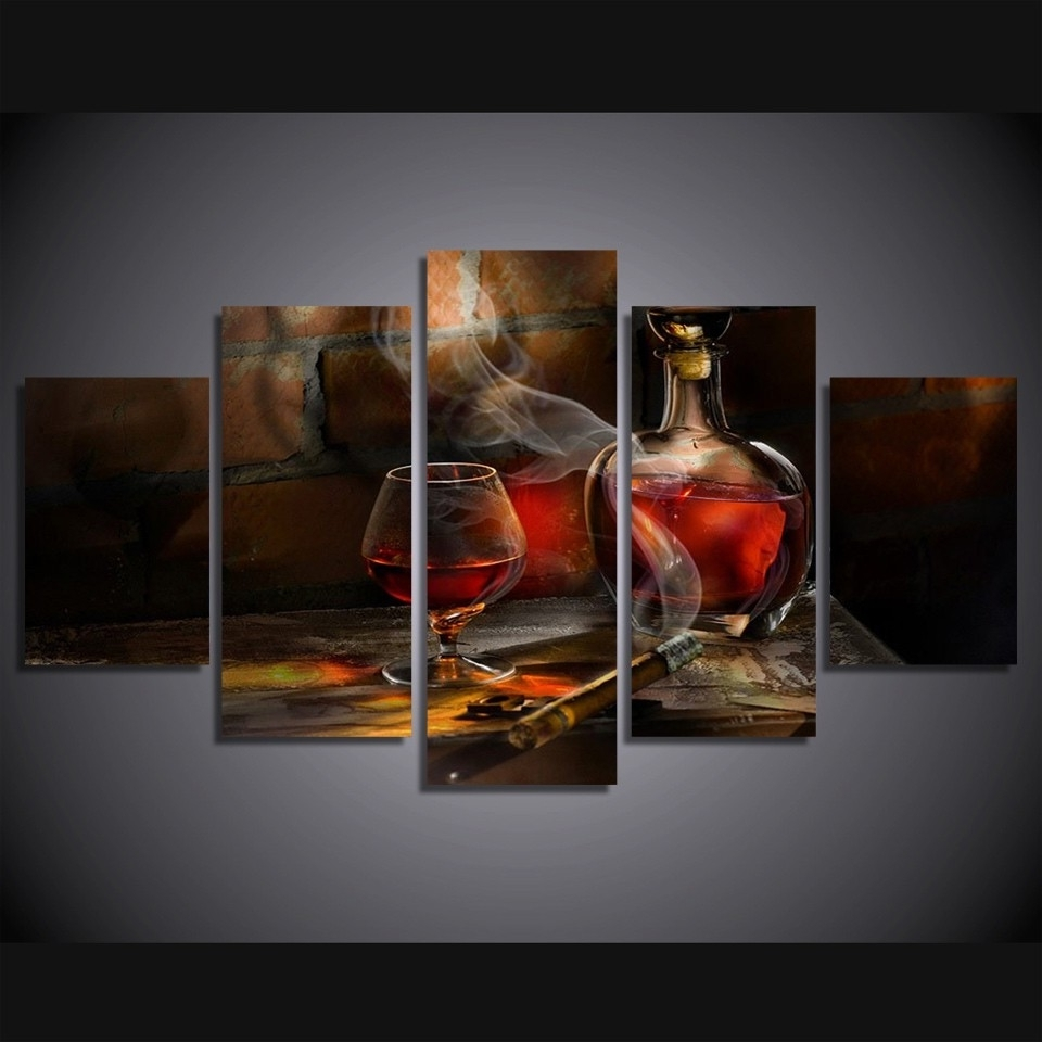 Well Known Wall Art Panels In 5 Pieces Canvas Prints Cigar Bottle Image Painting Wall Art Panels (View 17 of 20)