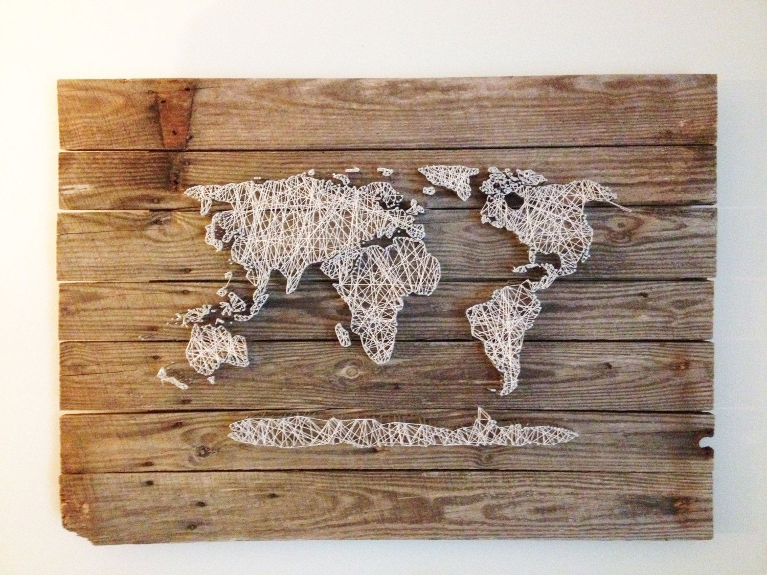 Well Known Wood Map Wall Art Inside Wood Art Wall Decor World Map Reclaimed Barn Door Wood String Art (View 10 of 20)