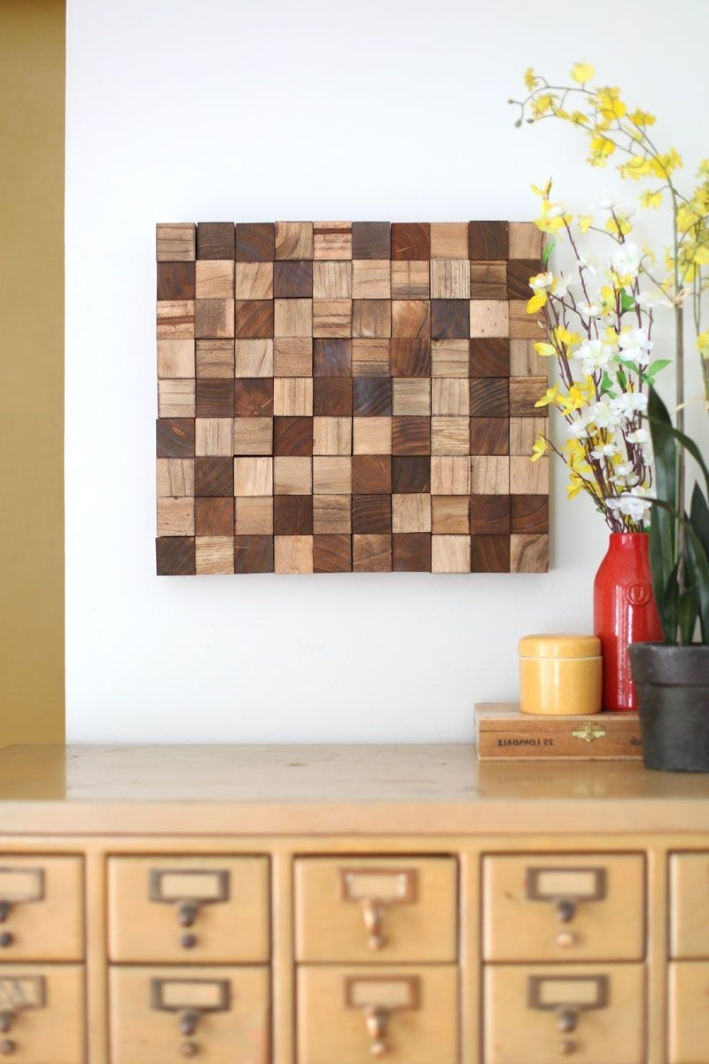 Well Known Wood Wall Art Diy Inside Wooden Mosaic Wall Art Diy (View 11 of 15)