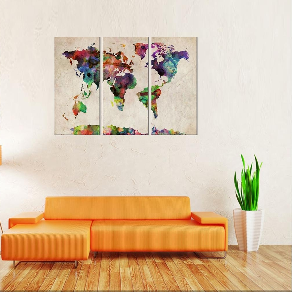 Well Known World Map Wall Art Canvas For Best Canvas Wall Art 3 Panels Abstract Color World Map Picture (View 9 of 20)