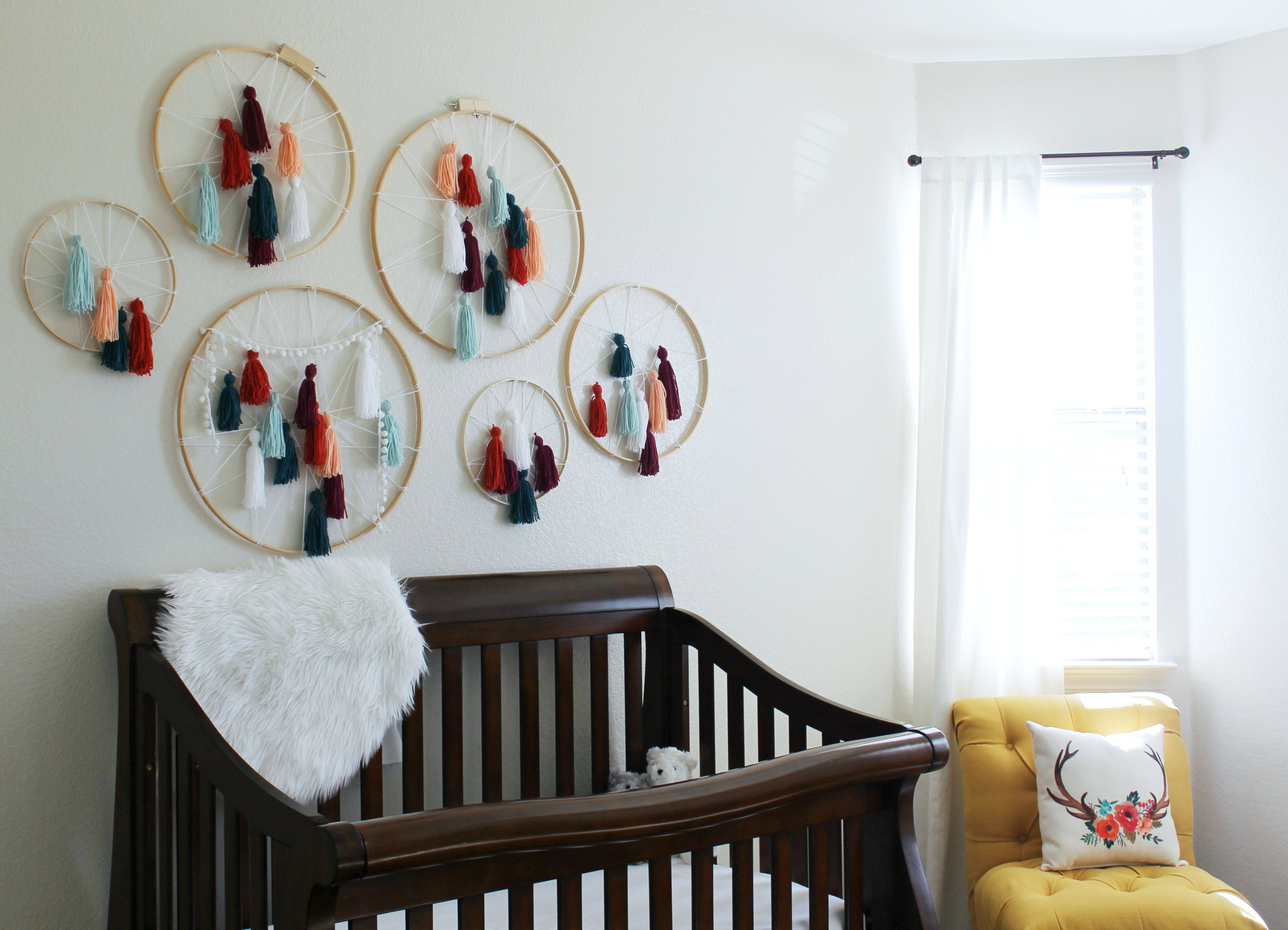 Well Known Yarn Wall Art Throughout Diy Tassel Dreamcatcher Yarn Wall Art Tutorial – Child At Heart Blog (View 16 of 20)