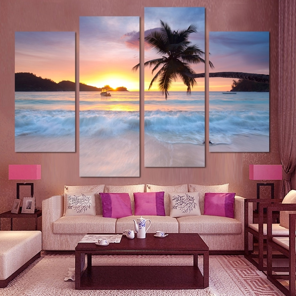 Well Liked 4 Pcs Ocean Sea Wall Art Modular Pictures Sunset Yellow Modern Pertaining To Ocean Wall Art (Gallery 2 of 20)