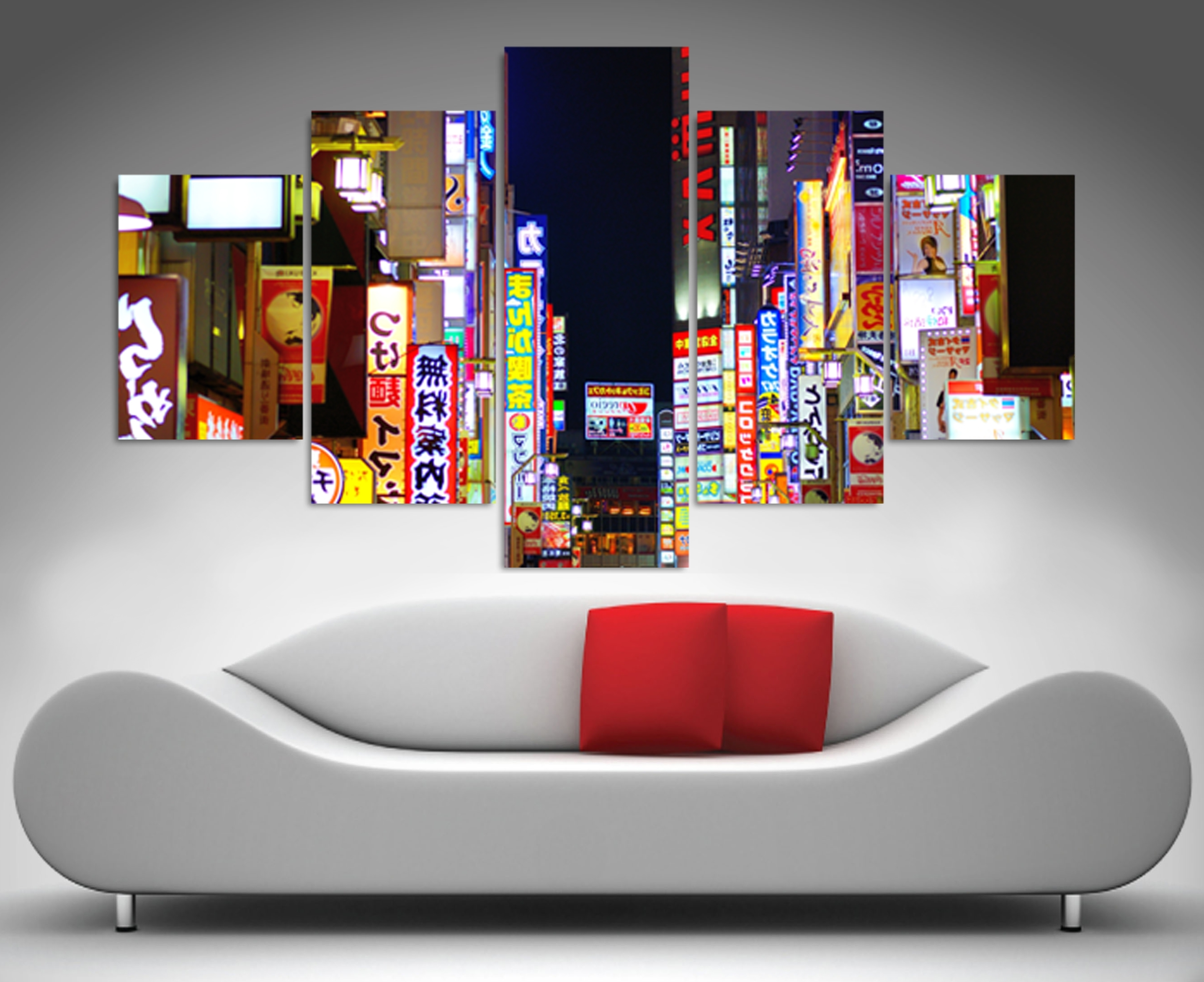 Well Liked 5 Panel Wall Art With Tokyo Nights 5 Panel Wall Art Print Canvas (View 20 of 20)
