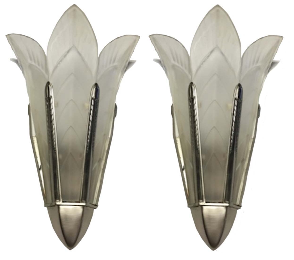 Well Liked A Pair Of Signed Sabino French Art Deco Wall Sconces (View 4 of 20)