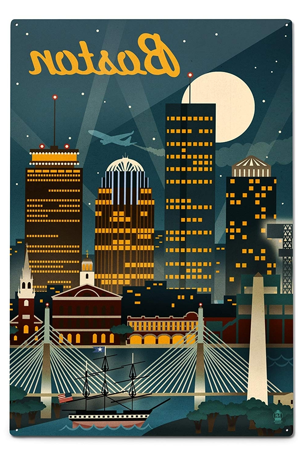 Well Liked Amazon: Boston, Massachusetts – Retro Skyline (12x18 Art Print Throughout Seattle Map Wall Art (View 18 of 20)
