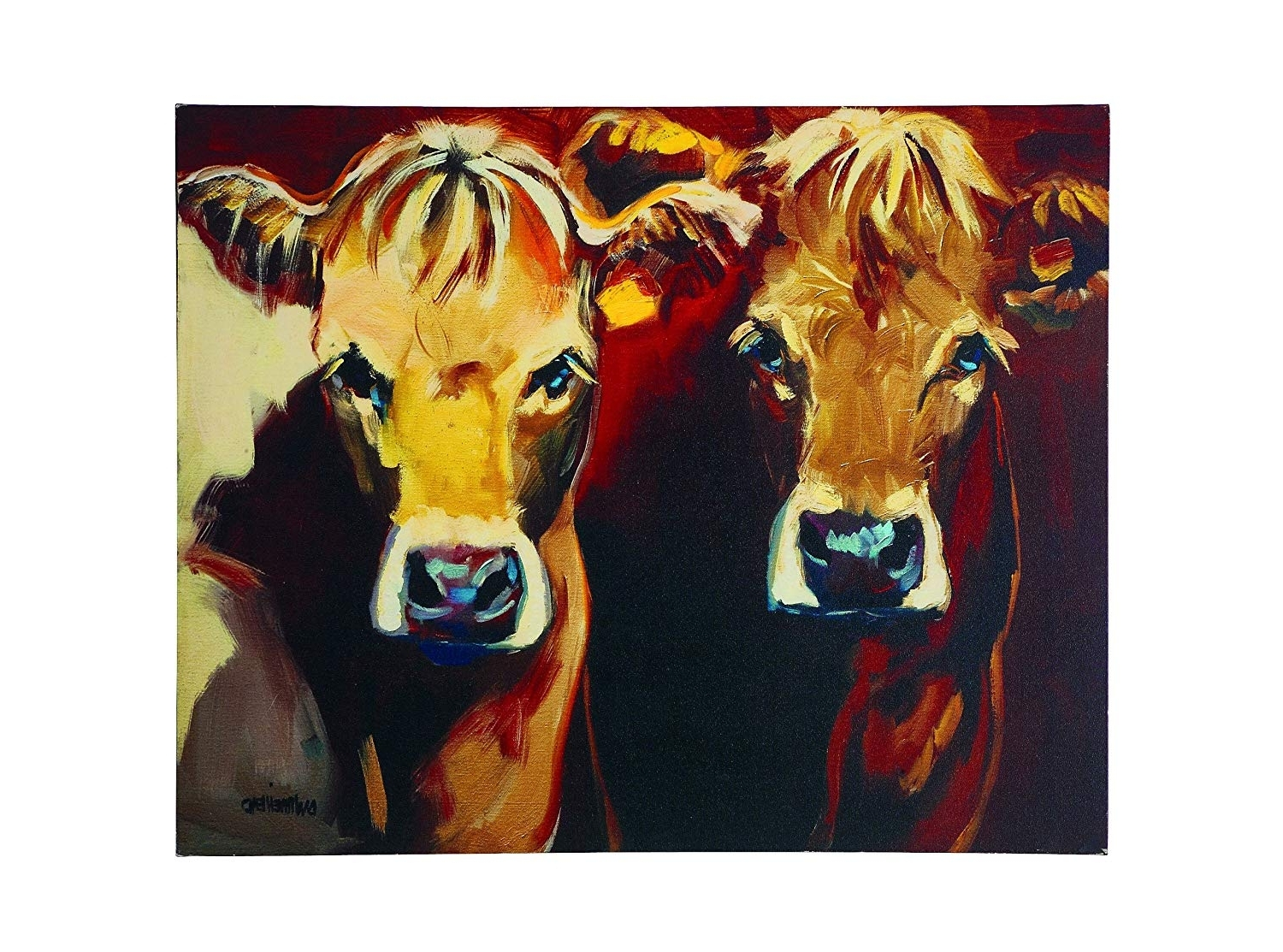 Well Liked Amazon: Creative Co Op Canvas Cow Plaque: Prints: Posters & Prints Intended For Cow Canvas Wall Art (View 17 of 20)