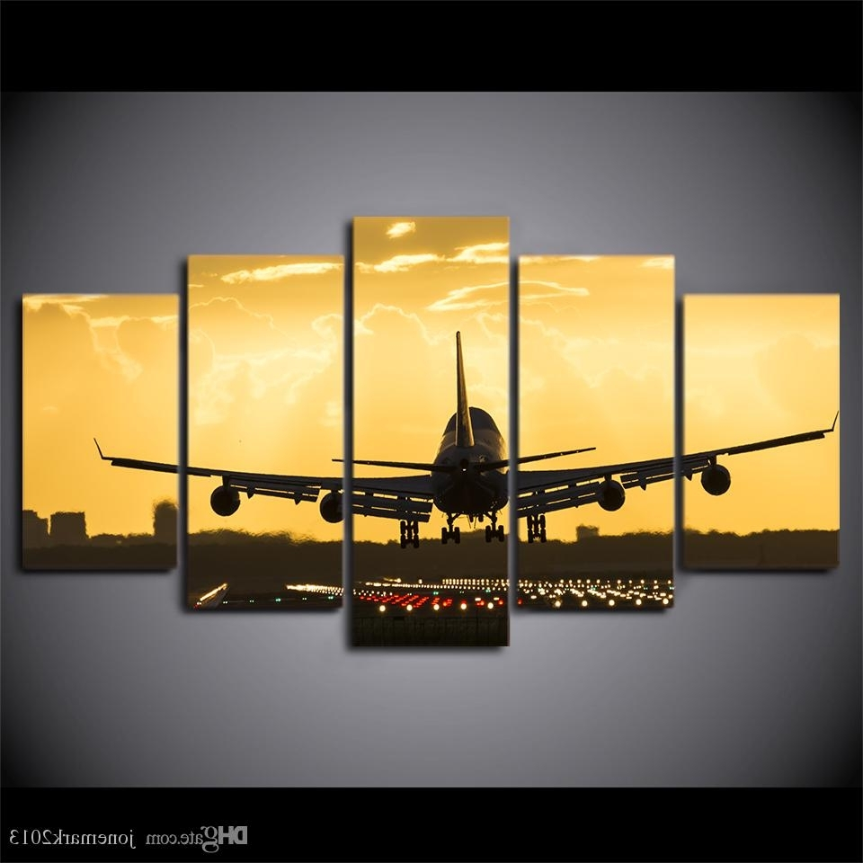 Well Liked Aviation Wall Art With Regard To 2018 Wall Art Canvas Painting Golden Sunset Hd Print Wall Canvas Art (View 18 of 20)