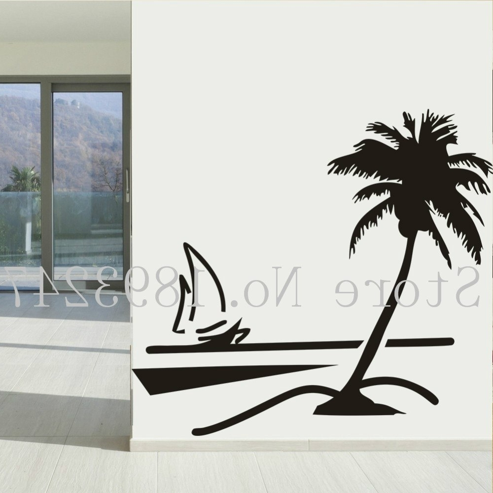 Well Liked Beach Coconut Palm Tree Sailboat Wall Art Bathroom With Glass Modern In Palm Tree Wall Art (View 20 of 20)