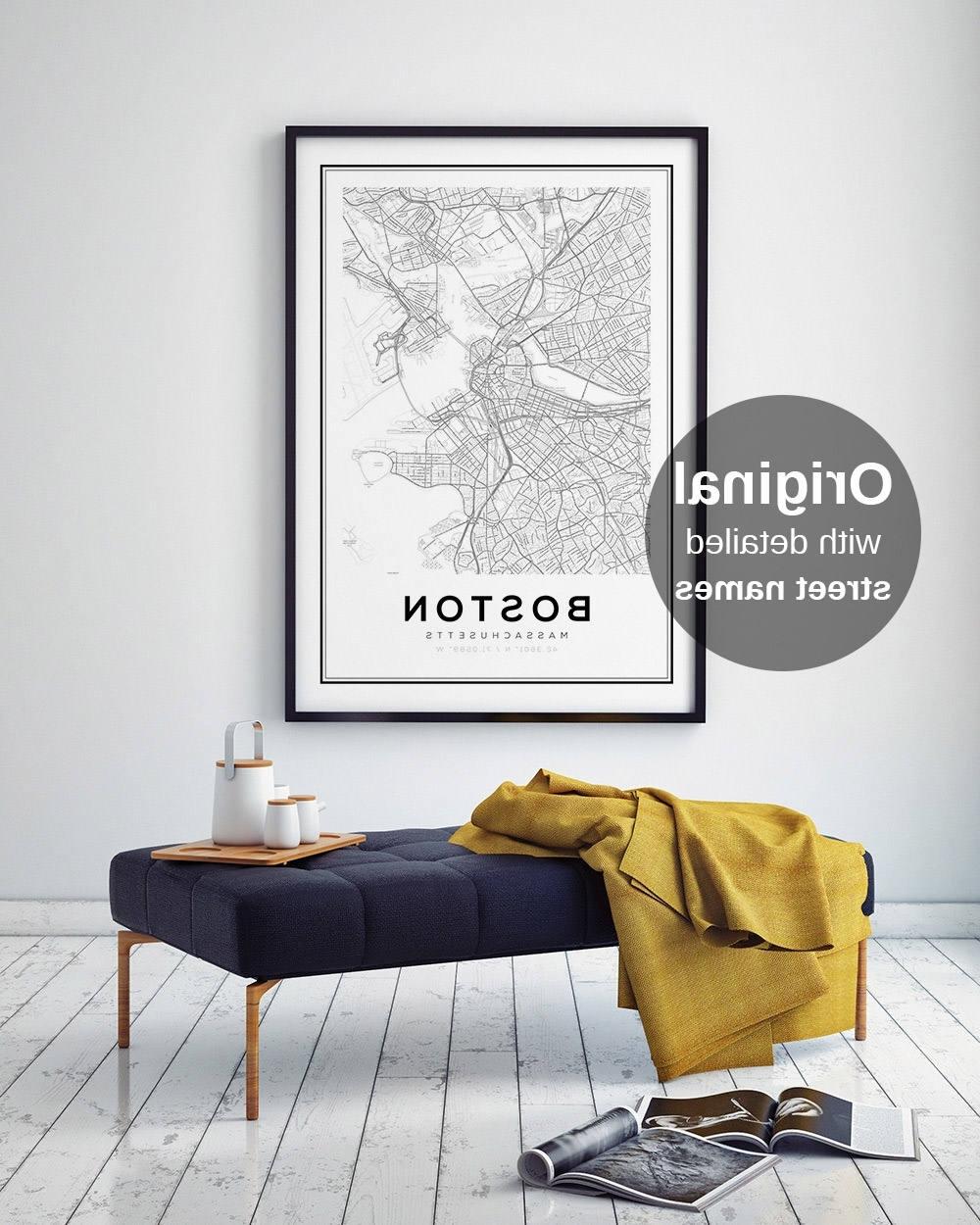 Well Liked Boston Map Print, City Map Decor, City Map Wall Art, Massachusetts Throughout Boston Wall Art (Gallery 10 of 20)
