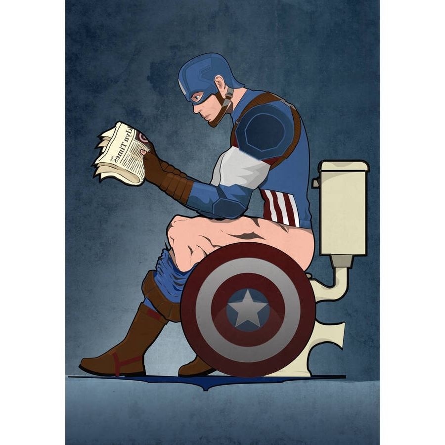 Well Liked Captain America Wall Art Intended For Captain America On The Toilet Poster Wall Art Printwyatt (View 15 of 15)