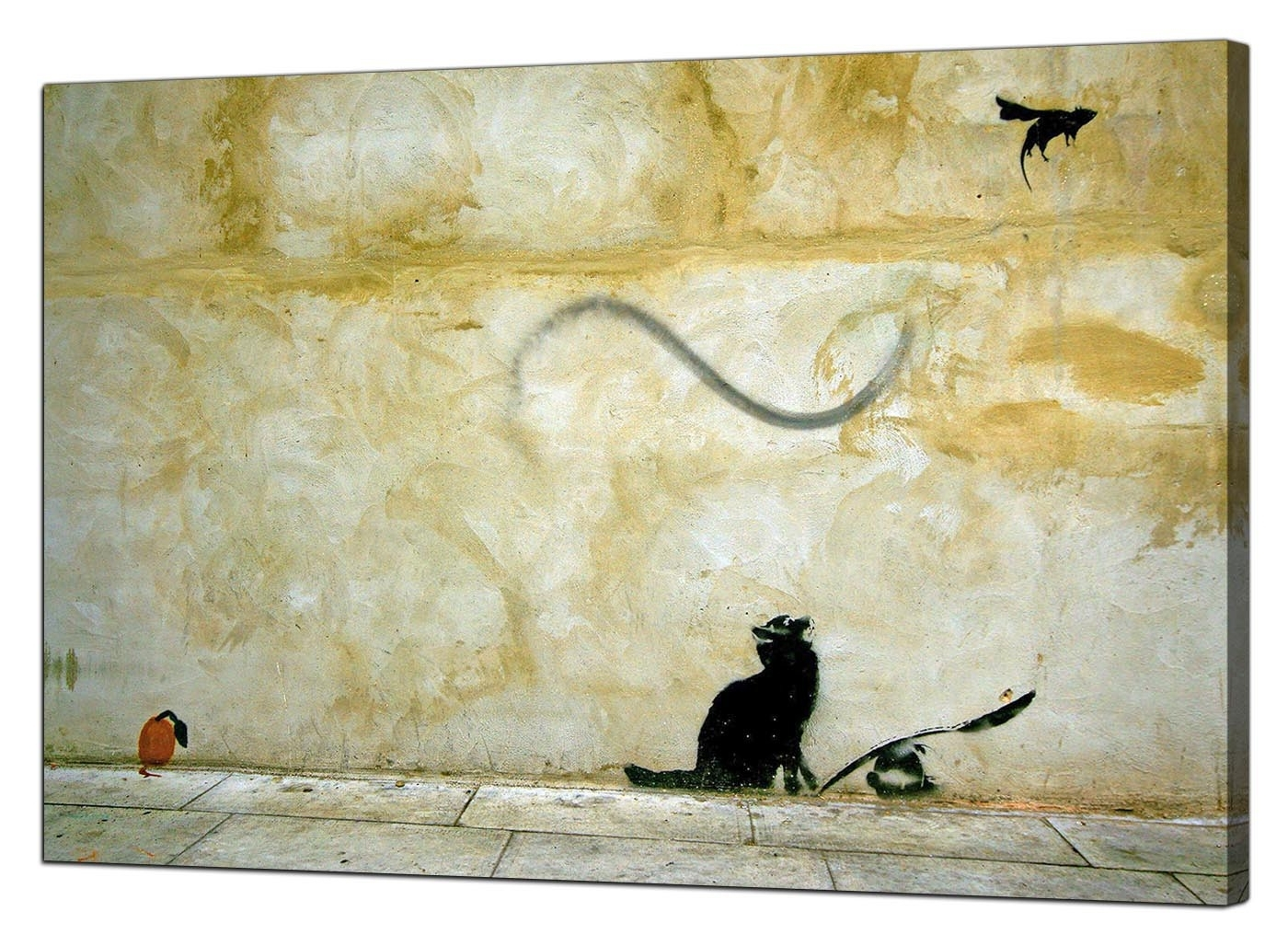 Well Liked Cat Canvas Wall Art With Banksy Canvas Prints – Cat And Mouse (View 19 of 20)