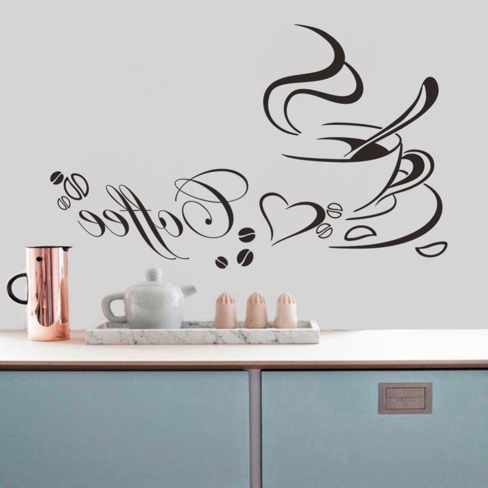 Well Liked Coffee Cup With Heart Vinyl Quote Restaurant Kitchen Removable Wall With Coffee Wall Art (Gallery 13 of 15)